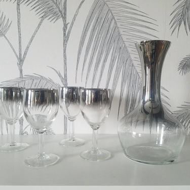 Vintage Barware, Vitreon Queen's Lusterware, Decanter with 4 Drinking Glasses, Mercury Finish, circa 60's by colortheoryBoston
