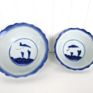 Set Of 2 Japanese Blue And White Porcelain Bowls, Fine Porcelain Asian Hand Painted Soup Rice Bowls, Japanese Rice Bowl by HerVintageCrush