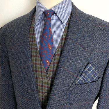 Vintage PENDLETON Wool TWEED Blazer ~ 44 S ~ jacket / sport coat ~ Windowpane Check Plaid ~ Preppy / Ivy Style / Trad by SparrowsAndWolves