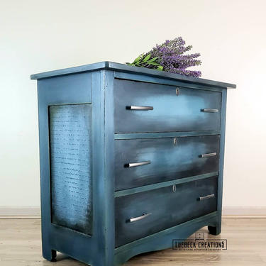 Antique dresser. Refinished hand painted entryway piece. Blue blended chest of drawers. by LuebeckCreations