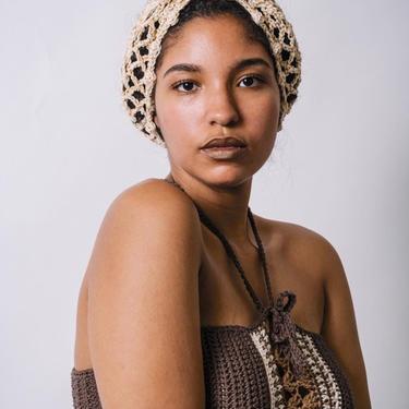 Sojourn Bandana in Putty Gold Dust/Crochet Turban Headband/Neutral Cotton Mesh Headband/Long Crochet Metallic Mesh Headband by KonjoCrochet