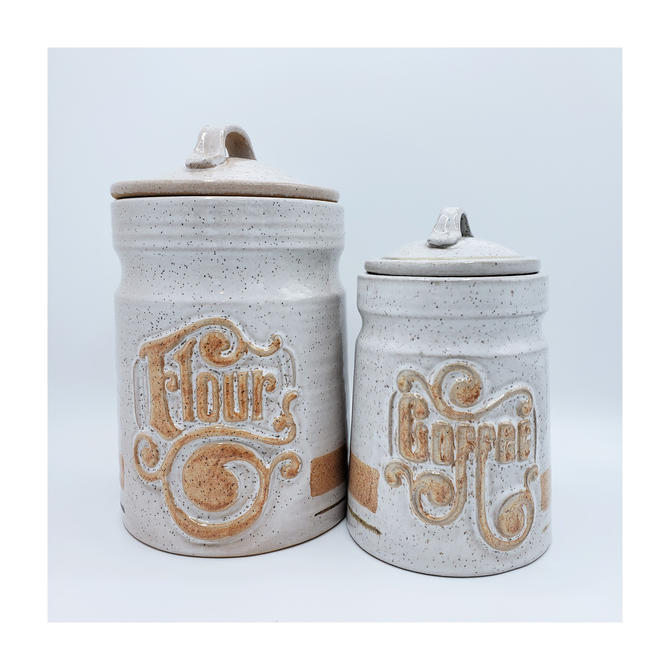 Vintage Ceramic Kitchen Canisters   Set of 2 Large Jars with Lids   Flour & Coffee Containers Dry Food Storage by SavageCactusCo