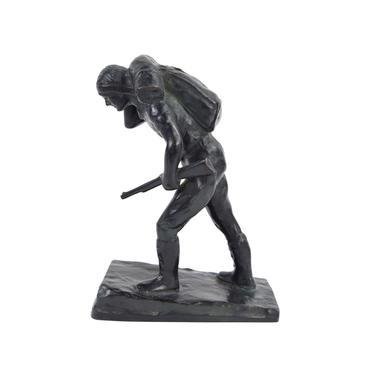 1930's Austrian Bronze Sculpture Hunter Carrying Rifle by Laboyteaux by PrairielandArt