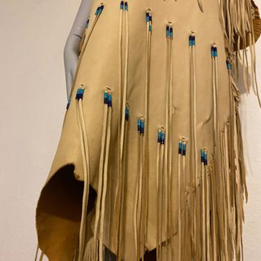 Vintage Native American leather dress indigenous cultural ceremonial dress Native American beaded gown by RETROSPECTNYC