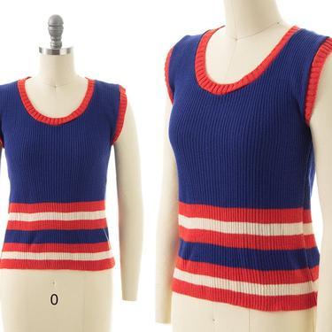 Vintage 1970s Sweater Vest   70s Mod Striped Ribbed Knit Acrylic Sleeveless Top (xs/small/medium) by BirthdayLifeVintage