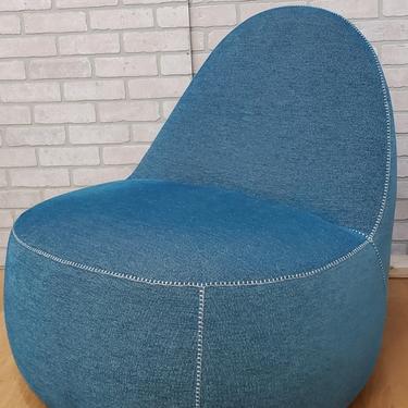 Modern Bernhardt Design Mitt Lounge Chair in Lagoon Blue with White Master Stitching