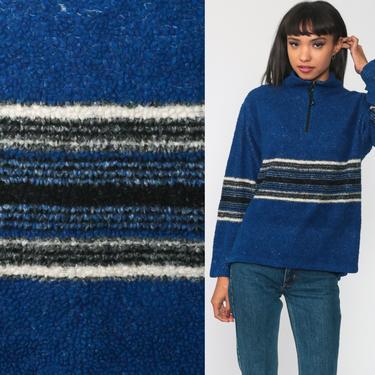 Fleece Pullover Sweatshirt Jacket 90s Blue Striped Jacket Half Zip Jacket Vintage Retro Vintage Small Medium by ShopExile