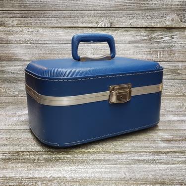 Vintage Blue Train Case, Vintage Luggage, Mid Century Modern Suitcase, Overnight Carry On Travel Case, Pinup Photo Prop, Vintage Luggage by AGoGoVintage