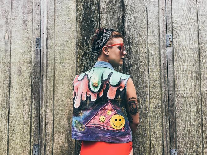 Hand Painted Denim Vest Custom Jean Jacket, M / L Slime Vest Wearable Art,  Handmade Vest, Rave Festival Vest by SlimeWarpVintage