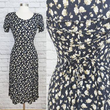 Vintage 90s Floral Dress // Navy Corset-Back A-Line Button-Up by GemVintageMN