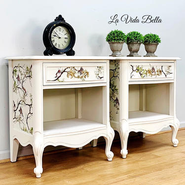 Pair of Vintage French Country Nightstands, French Provincial, Side Tables by LaVidaBellaDesign