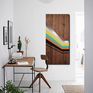Metal Art, Wood Wall Art, Modern Geometric Painting, Modern Minimalist Large Mid Century Modern Contemporary Home Decor Abstract Sculpture by LauraAshleyWoodArt