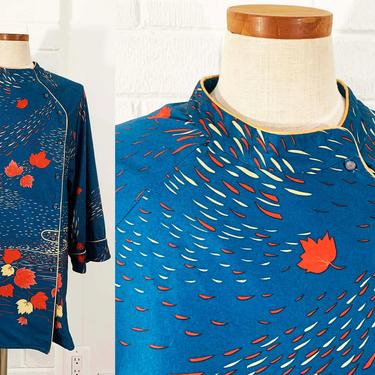 True Vintage Peppermill Plus Tunic Mod Shirt Asian Inspired Dark Blue 70s 1970s 3/4 Sleeve Blouse Sleeves Button Front Large XL Oversized by CheckEngineVintage