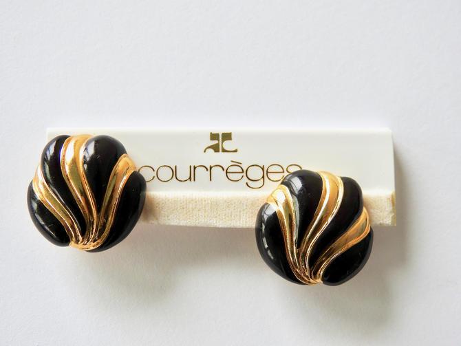 Courreges NWT Black Enamel Clip-on Earrings by LegendaryBeast