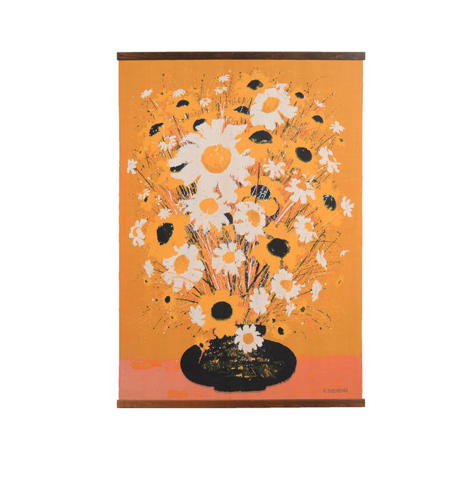 Robert Bushong  Silk Screen tapestry made by Tom Tru Corp Mid Century Modern Wall Hanging by HearthsideHome