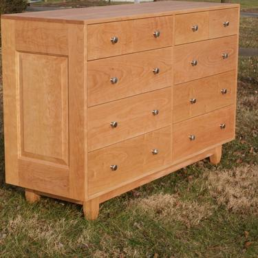 """X10420p *Hardwood 10 Drawer Dresser, Inset Drawers,  Raised Panels, 60"""" wide x 20"""" deep x 40"""" tall - natural color by SolidCherryHeirlooms"""