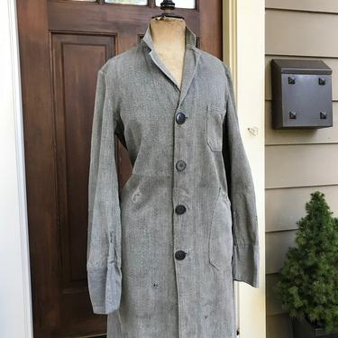 French Gray Work Coat, Shop, Duster, Engineer, Work Chore Wear, Salt and Pepper, Grey Marl, French Farmhouse by JansVintageStuff