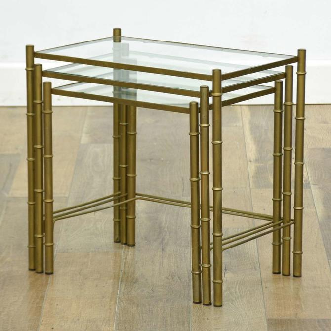 Brass Hollywood Regency Bamboo Motif Nesting End Tables