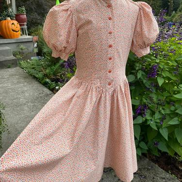 VTG Girls dress ~ Calico print puff sleeves boho hippie peasant style~ hand made~ size 5-6 yo by HattiesVintagePDX
