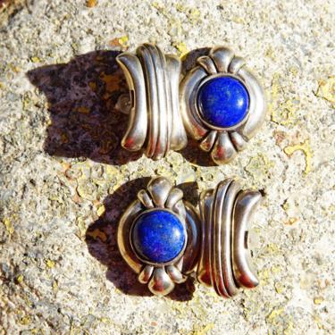 "Vintage Chunky Sterling Silver Lapis Lazuli Dangle Earrings, Hinged Silver Stud Earrings, Cobalt Blue Gemstone, Statement Earrings, 1 1/4"" L by shopGoodsVintage"