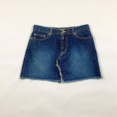 90s Paris Blues Denim Mini Skirt / Frayed Hem / Xtina / y2k / Spice Girls / Fringe / Britney Spears / Raw Hem / Bratz / 00s / Western / S / by shoptrashdotnet