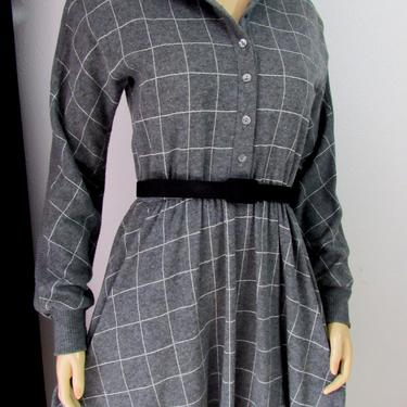 Vintage 80s California Girl Windowpane Modest Dress Sweater Dress  Raglan Sleeved Dress Full Circle Skirt Medium Ribbed Pattern I.Magnin by GraveyardVintage