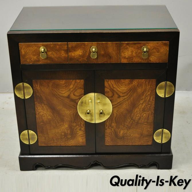 Burlwood & Brass Chinoiserie Korean Oriental Chest End Table Century Furniture