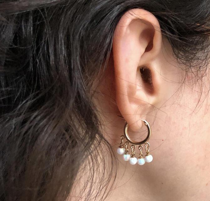 Opal fringe hoops in 14k gold-filled chandelier earrings by RachelPfefferDesigns