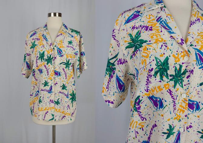 Vintage Nineties Silk Shirt - 90s Silk Summer Print Shirt - Graphic Print Button Front Blouse by JanetandJaneVintage