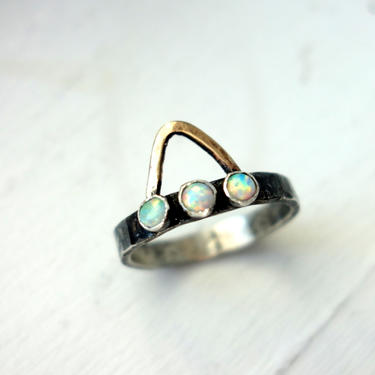 The Urban Sombrero Ring- Sterling Silver with Opals and 14k Gold Fill Triangle by RachelPfefferDesigns