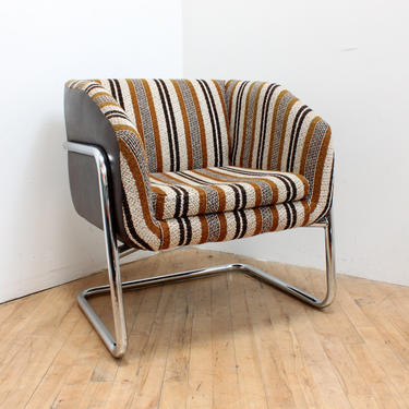 Mid Century Modern Cube Chair Cantilever Chrome Armchair 1970s 70s Vintage Striped by 330Modern
