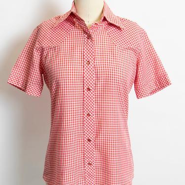 Vintage 1980s Wrangler Ladies Shirt Gingham Blouse Western 80s Medium by dejavintageboutique