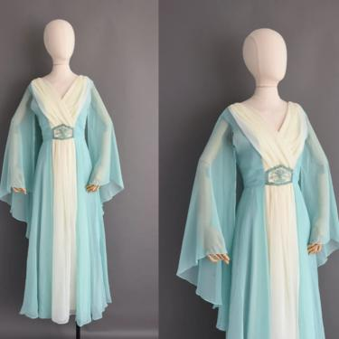1970s vintage dress | Gorgeous Teal Blue Fluttery Chiffon Cocktail Party Bridesmaid Wedding Dress | Small Medium | 70s dress by simplicityisbliss