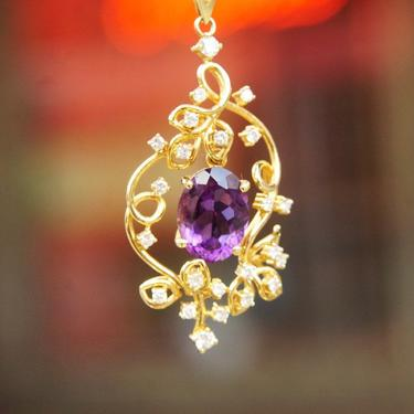 "Vintage 14K Gold Amethyst & Diamond Pendant Choker Necklace, Faceted Amethyst Stone, Ornate Diamond Studded Gold Frame, 14 3/4"" Long by shopGoodsVintage"