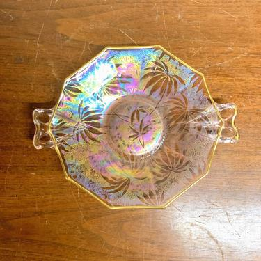 Vintage Fostoria Palm Leaf Pink Brocade Iridescent Ribbon Handled Plate by OverTheYearsFinds