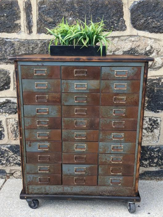 Vintage Industrial Multi Drawersl Apothecary Metal cabinet by SouliDesign