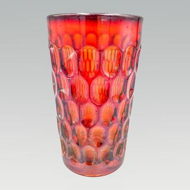 Fenton Glass Orange Thumbprint 12 Oz Tumbler   Vintage Amberina Drinking Glass   1960s Glassware by MostlyMidCenturySF