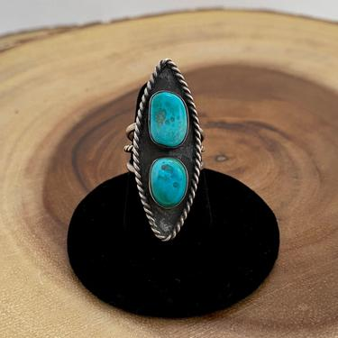 DOUBLE DOSE Vintage 70s Silver & Turquoise Ring   1970s Large Shallow Shadow Box   Native American Navajo Jewelry   Size 7 by lovestreetsf