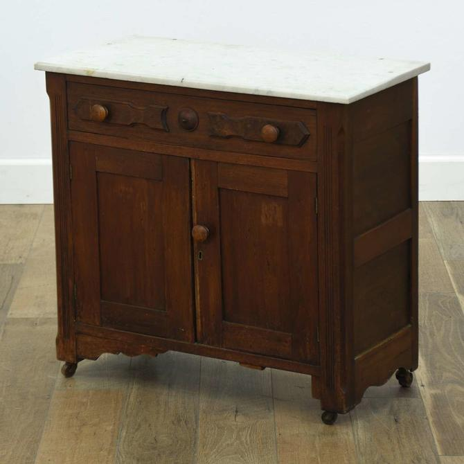 Antique Victorian Cabinet W Marble Top