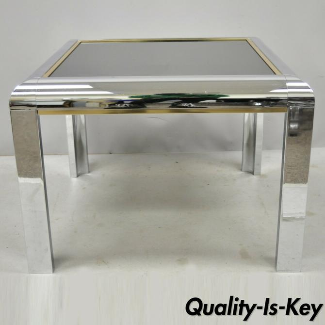 Mid Century Modern Polished Chrome Milo Baughman Glass Top Occasional Lamp Table