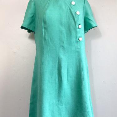Vintage Anita Dress | 60s Mod Green Button Shift Dress | Lampl Dress Plus Size by blindcatvintage
