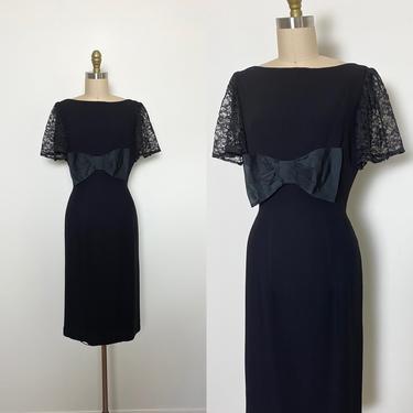 Vintage 1950s Cocktail Dress 50s Little Black Dress by littlestarsvintage