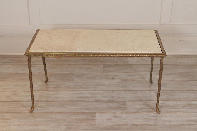 Mid -Century Brass And Marble Cocktail Table