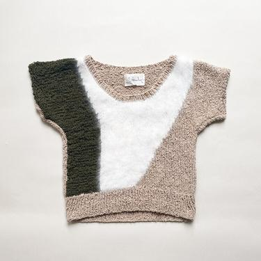1980s Moss, Snow, and Sand Angora Collage Knit by waywardcollection