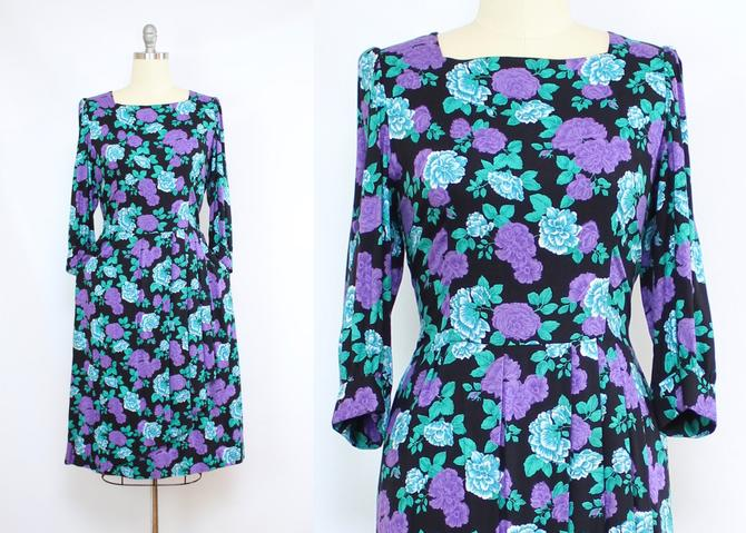 Vintage 80's Purple and Blue Floral LANZ ORIGINALS Sheath Dress / 1980's Floral Dress with Pockets / Women's Size Large - XL by RubyThreadsVintage