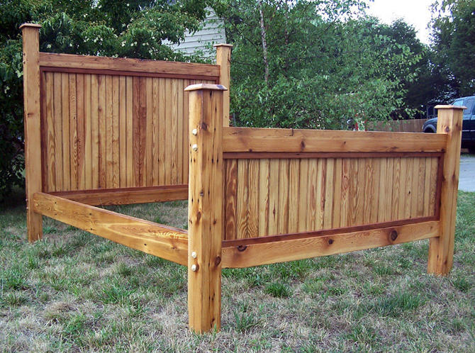 Free Shipping! Heart Pine Bed Frame Made From Reclaimed Antique Barnwood by StrongOaksWoodshop