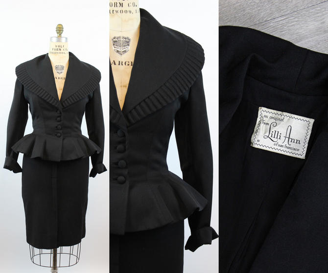 1950s Lilli Ann FIT AND FLARE peplum jacket large   new fall by CrushVintage