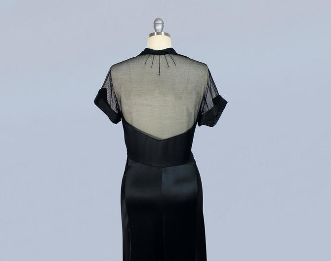 1930s Dress / 30s MESH Back and Yoke Gown / Evening Gown / Liquid Satin by GuermantesVintage