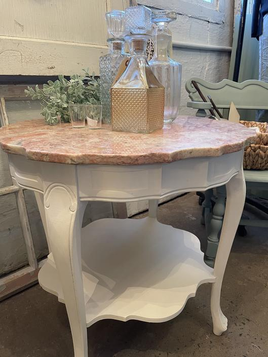 Gorgeous Vintage Pink Marble Top Table