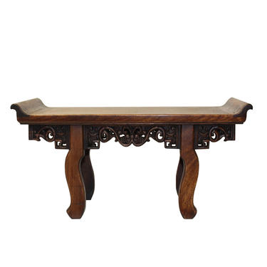 Chinese Brown Wood Altar Shape Rectangular Table Top Display Stand Easel cs5589E by GoldenLotusAntiques